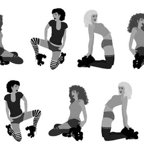 black white roller derby girls