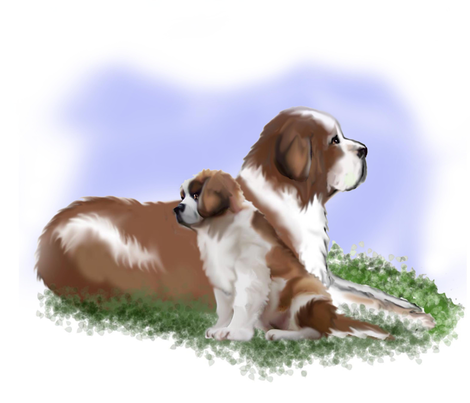 Saint Bernard Mom and puppy fabric by dogdaze_ on Spoonflower - custom fabric