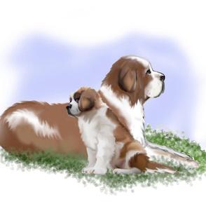 Saint Bernard Mom and puppy