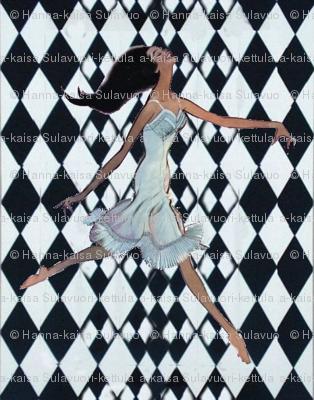 rallye background checkered black and white vintage dancer girl with underwear