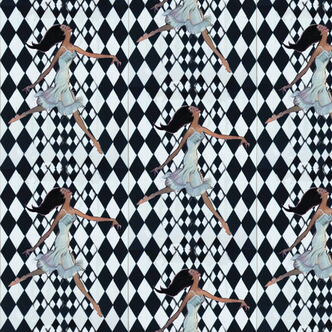 rallye background checkered black and white vintage dancer girl with underwear fabric by vinkeli on Spoonflower - custom fabric