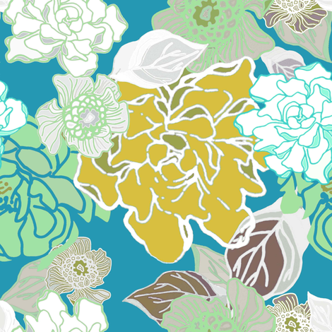 Blossoms Modern Turquoise fabric by joanmclemore on Spoonflower - custom fabric
