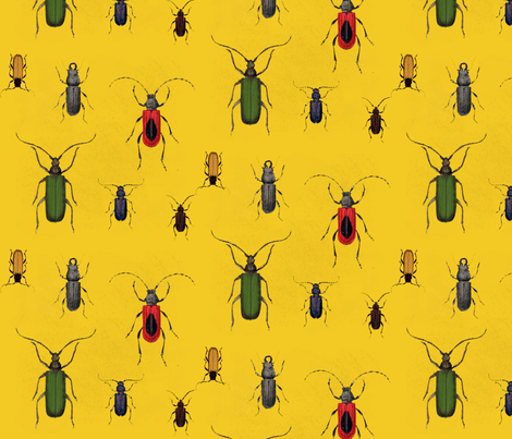 Bugs a Lot Curry fabric by bettina_pedersen on Spoonflower - custom fabric