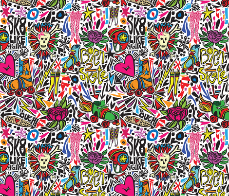 BORN 2 SK8 fabric by gsonge on Spoonflower - custom fabric