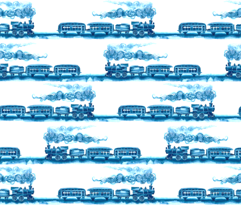 All Aboard! (blue) fabric by twobloom on Spoonflower - custom fabric