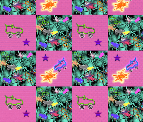 RollerDerby fabric by danielapuliti on Spoonflower - custom fabric