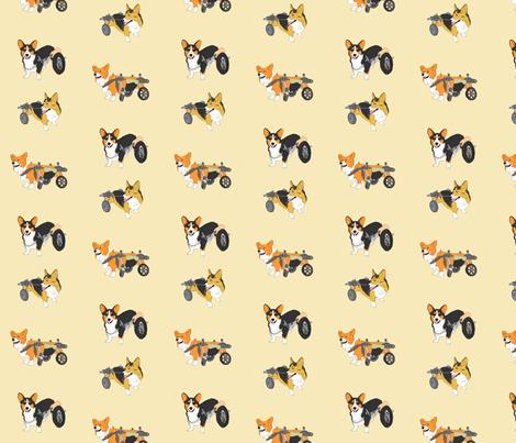Corgi's on Wheels - tan fabric by rusticcorgi on Spoonflower - custom fabric