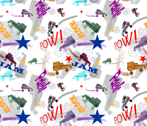 Roller Derby Mashup fabric by veritybrown on Spoonflower - custom fabric