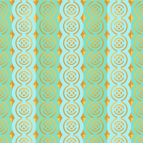 Gold quadrants on aqua and blue fabric by su_g on Spoonflower - custom fabric