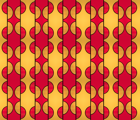 Mirror repeat medium Red and gold half circles fabric by su_g on Spoonflower - custom fabric