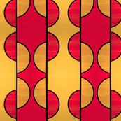 Mirror repeat medium Red and gold half circles
