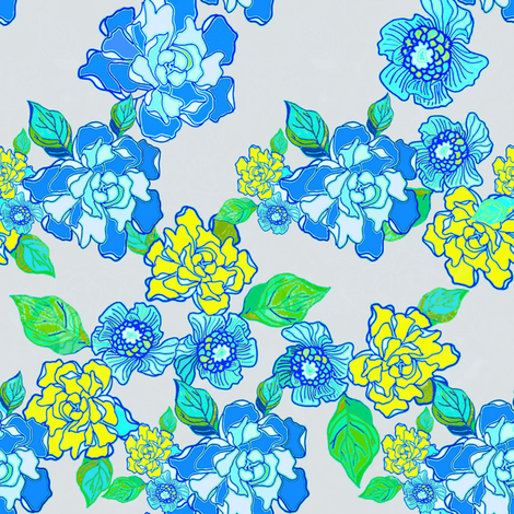 Blossoms Blue and Yellow fabric by joanmclemore on Spoonflower - custom fabric