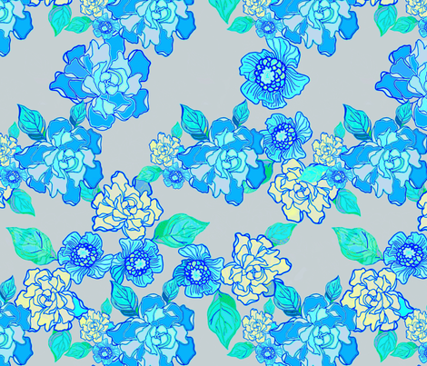 Blossoms and Gardenias fabric by joanmclemore on Spoonflower - custom fabric