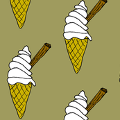 Ice Cream Cone with Chocolate flake in mossy Green and Brown