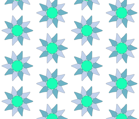 Flower Petals in Blue, lilac and green fabric by sew_delightful on Spoonflower - custom fabric