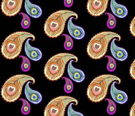 Peacock Feather Paisley on Black fabric by beesocks on Spoonflower - custom fabric
