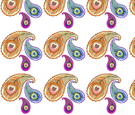 peacock feather paisley fabric by beesocks on Spoonflower - custom fabric