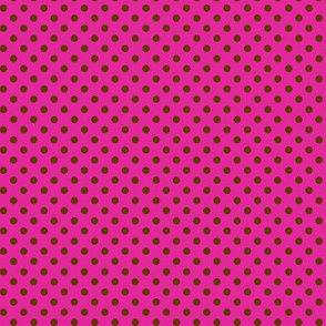 Dark brown polka dots on hot pink.