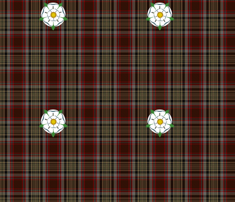 Caithness District Tartan w/ Yorkshire/Jacobite Rose Armband fabric by rengal on Spoonflower - custom fabric