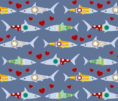 woo woo sharkies fabric by scrummy on Spoonflower - custom fabric
