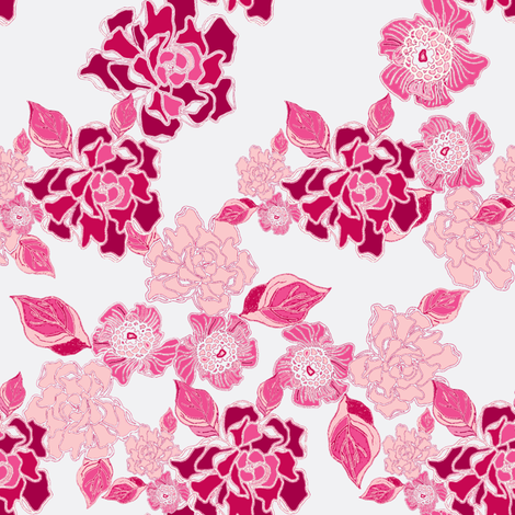 Blossoms in pink Colorway fabric by joanmclemore on Spoonflower - custom fabric