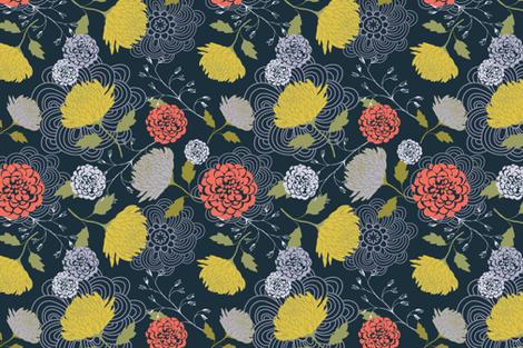 Midnight Blue Chrysanthemum fabric by nikkibutlerdesign on Spoonflower - custom fabric