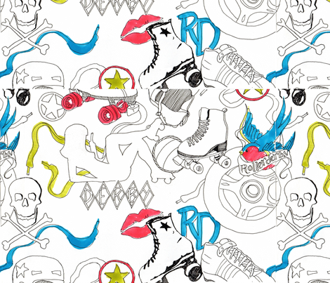 RollerDerbyYo fabric by *erinred* on Spoonflower - custom fabric
