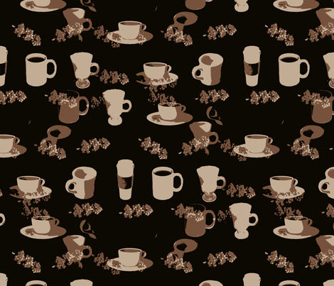 Dark Coffee fabric by farrellart on Spoonflower - custom fabric