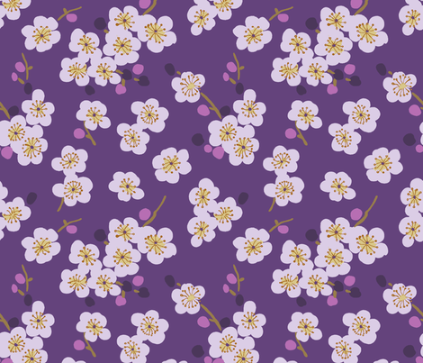 pear blossom purple fabric by littlerhodydesign on Spoonflower - custom fabric