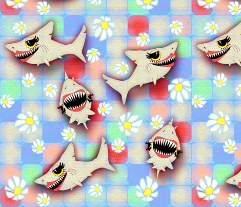 ©2011 SHARKFEST-large fabric by glimmericks on Spoonflower - custom fabric