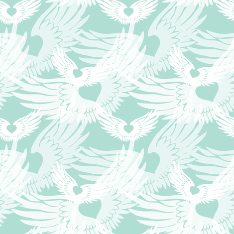Heartwings II: Seaglass Angels fabric by penina on Spoonflower - custom fabric