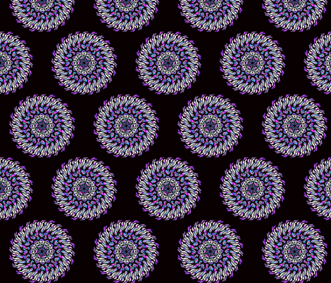 Giant retro style pink turquoise blue purple black and white dahlia flower fabric by vinkeli on Spoonflower - custom fabric