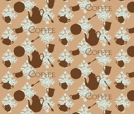 Victorian coffee time fabric by fantazya on Spoonflower - custom fabric
