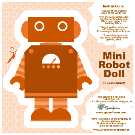 Mini Robot Doll - Orange fabric by jesseesuem on Spoonflower - custom fabric