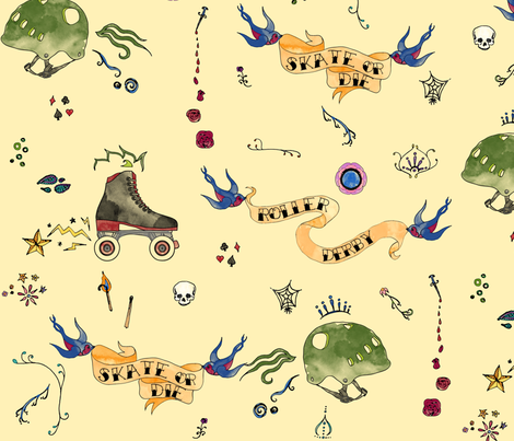 Roller Derby fabric by leighr on Spoonflower - custom fabric