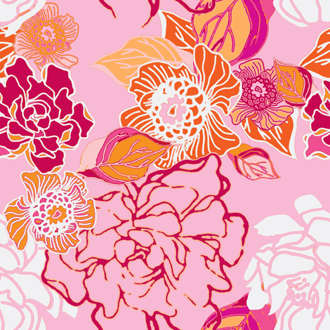 Jungle Pink Floral fabric by joanmclemore on Spoonflower - custom fabric