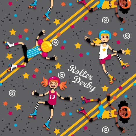 Floored (in the roller derby) fabric by irrimiri on Spoonflower - custom fabric