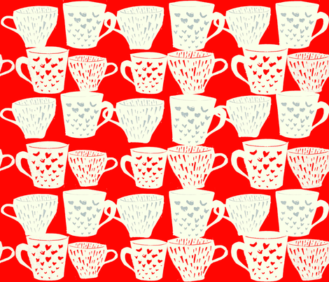 Coffee cups fabric by mintprint on Spoonflower - custom fabric