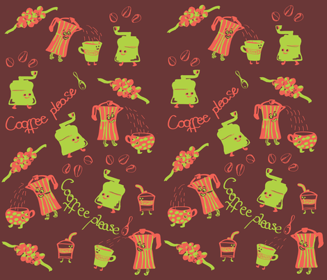 animated_coffee fabric by maribel on Spoonflower - custom fabric