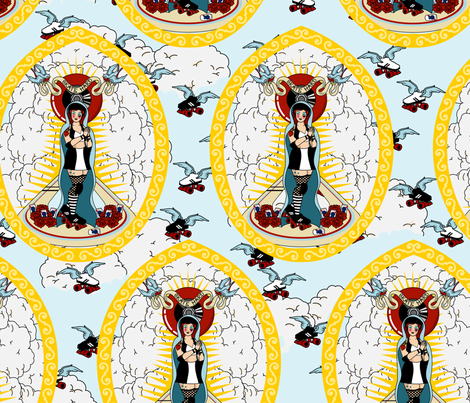 Our Lady of the Holy Rollers fabric by thirdhalfstudios on Spoonflower - custom fabric