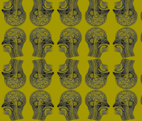 HeadAnatomy-Acid Green fabric by mbsmith on Spoonflower - custom fabric