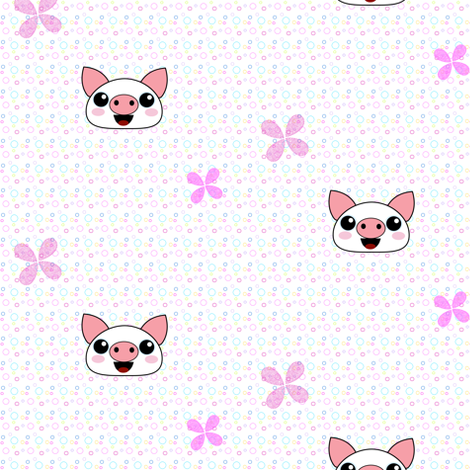 Piggydots! - Baby Animal Faces - © PinkSodaPop 4ComputerHeaven.com fabric by pinksodapop on Spoonflower - custom fabric