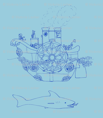 Steampunk sea transportation - blue