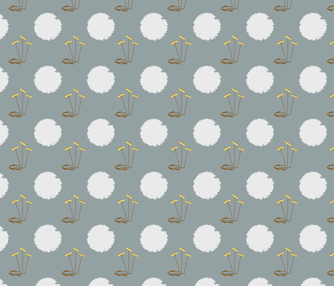Three Straight Flowers on Blue-Grey fabric by petals_fair on Spoonflower - custom fabric