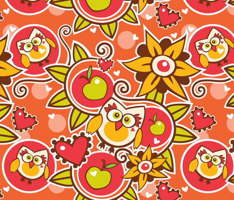 Owls and Apples fabric by tessiegirldesigns on Spoonflower - custom fabric