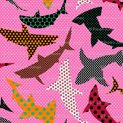 Polka Dot Sharks on Pink
