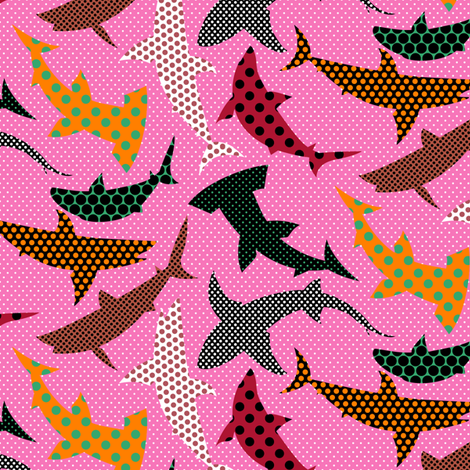 Polka Dot Sharks on Pink fabric by ravenous on Spoonflower - custom fabric