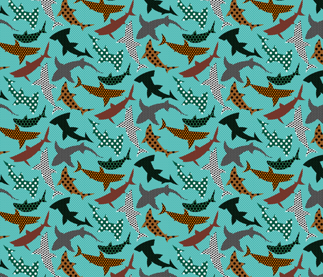 Polka Dot Sharks on Blue fabric by ravenous on Spoonflower - custom fabric