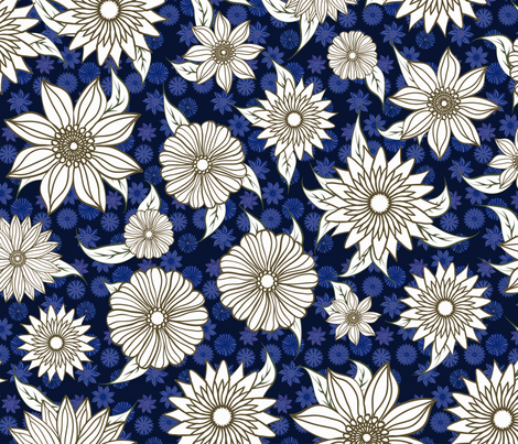 Natasha Blue Floral fabric by kezia on Spoonflower - custom fabric