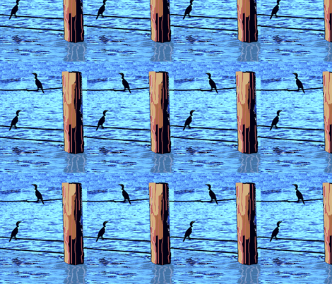 Water Birds and Pilings fabric by robin_rice on Spoonflower - custom fabric